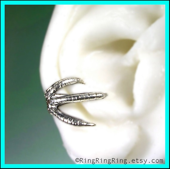 925 Talon claw ear cuff earring in solid sterling silver, Right earcuff for men and women, Sterling ear cuff