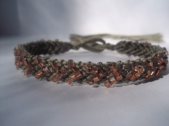 Elaine Collection: Chevron gray with peach beads Friendship Bracelet
