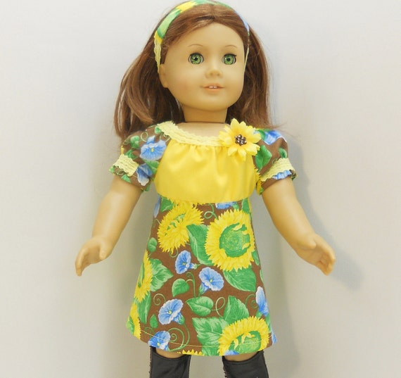 "American Girl Doll Clothes Peasant Dress 3 pc Set  fit 18"" dolls  Yellow Sunflowers on Brown"