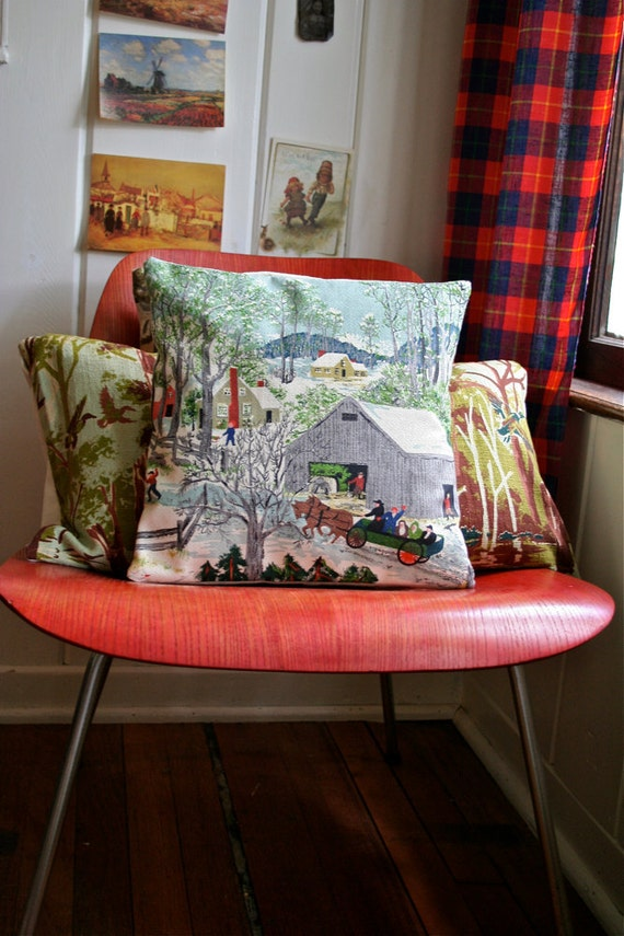 Grandma Moses Hand Made Fabric Pillow - Folk Art Artist - Early Springtime on the Farm