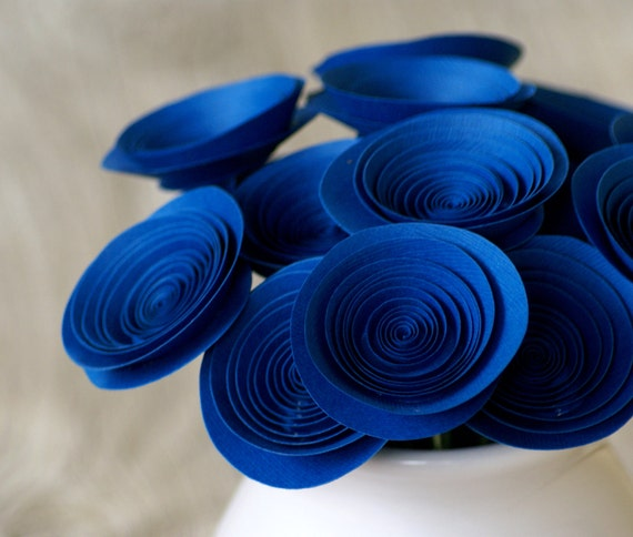 Sodalite Blue Paper Flowers - Royal Blue Floral Arrangement - Handmade Cobalt Blue Centerpice