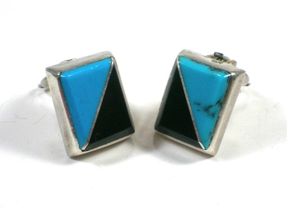 Vintage Sterling Earrings With Turquoise And Onyx by paleorama from etsy.com