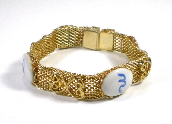 Vintage Gold Tone Mesh Bracelet With Blue Chinese by paleorama from etsy.com