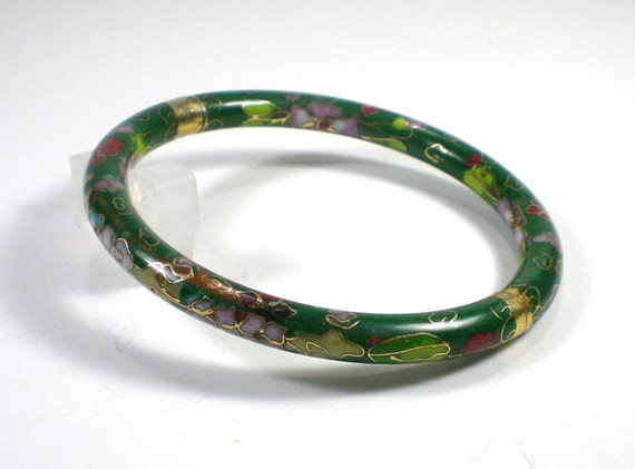 Vintage Green Cloisonne Hinged Bangle Bracelet by paleorama from etsy.com
