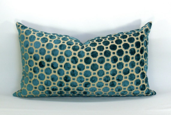 Robert Allen Velvet Geo turquoise pillow cover - 12 x 20