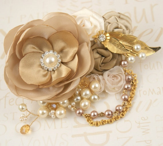 Bridal Hair Clip Fascinator - Vintage Inspired Gold, Cream, Champagne with Vintage Brooch, Chains, Satin Flowers, Pearls and Crystals