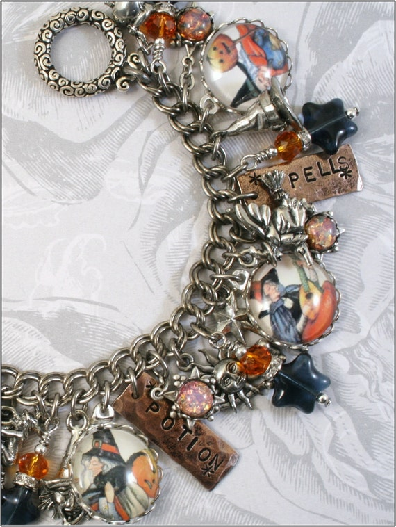 The Mystic Witch, Halloween, Magic, Witches, Vintage Inspired Charm Bracelet