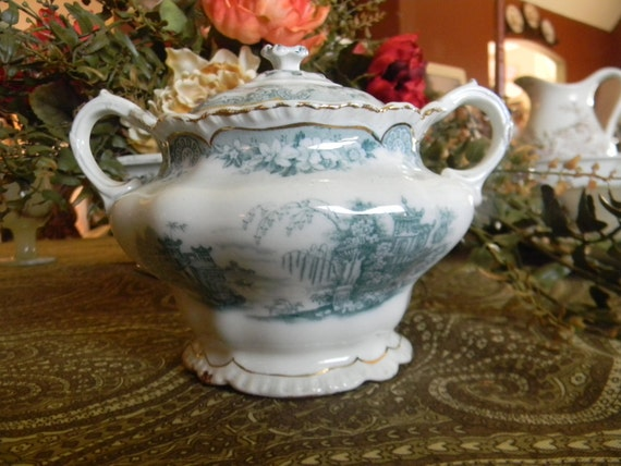 Antique 1890's Teal Transferware Dual Handled Large Sugar Bowl or Tea Caddy Maddock Bombay Roses Scrolls Flowers Ships