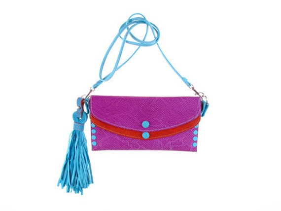 Cockatoo clutch in bright fuschia, coral and turquoise leather