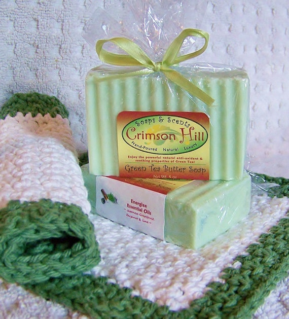 Green Tea Butter Natural Soap & Crocheted Washcloth Gift Set