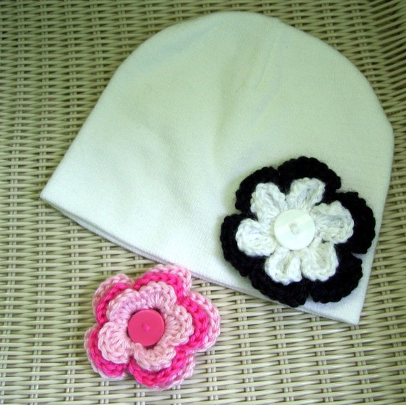 White Beanie Hat Two Interchangeable Flowers