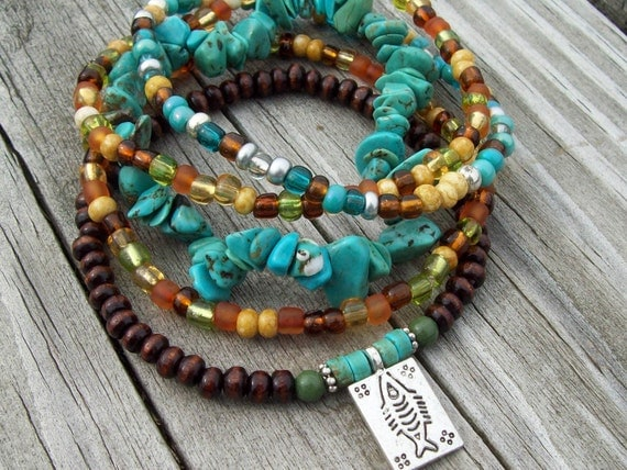 Good Fortune Fish Charm Stretch Bohemian Beaded Bracelet Stacks of Turquoise Gemstone Chips, Falling Leave Mix Czech Glass and Wood