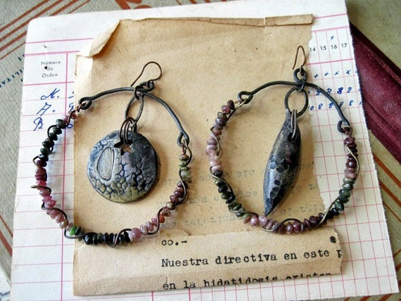 When the Universe has Finished Exploding.  Gypsy Assemblage Earrings with Rustic Watermelon Tourmaline..