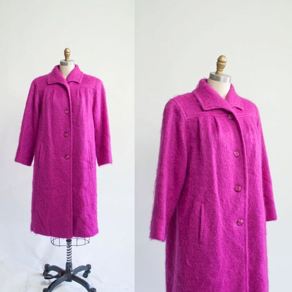 Vintage BRIGHT Pink Coat / Mohair Coat / Winter by MariesVintage