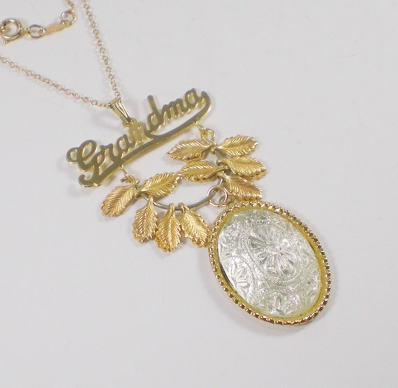 Vintage Grandma Necklace Carved Glass Gold Leaves by paleorama from etsy.com