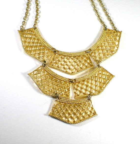 Vintage Gold  Statement Bib Necklace by paleorama on Etsy from etsy.com