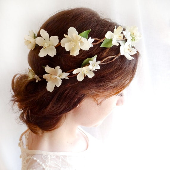 ivory flower head piece - OPHELIA - vintage, country wedding, flower girl wreath