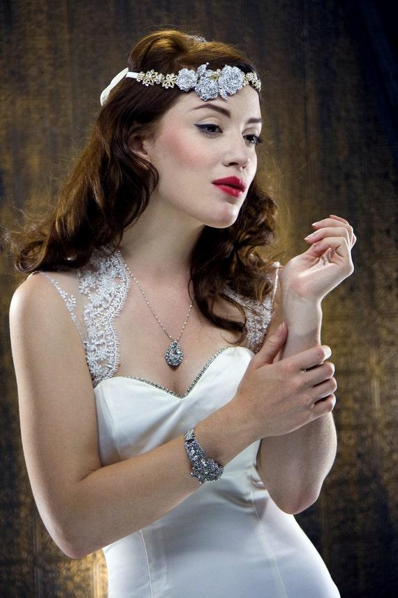 РОЗЫ золото и серебро Контрастность Rhinestone волос Wrap повязка