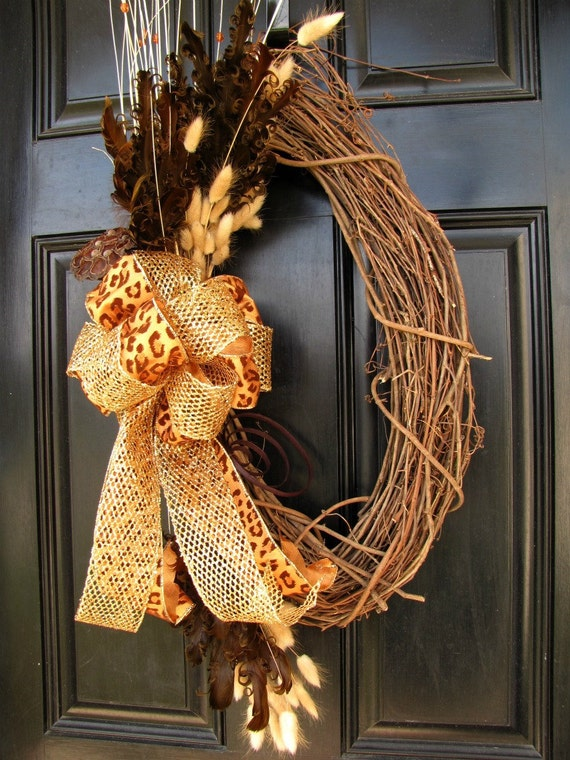 Year Round Wreath - Sassy Girl Wreath with Leopard Print Bow