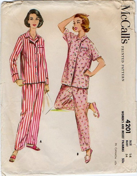 Vintage 1950s Pajama Sewing Pattern McCalls 4201 Pajamas Top and Pants B34