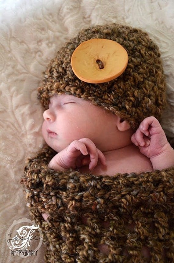 Baby Beanie Hat with Button - In Stock