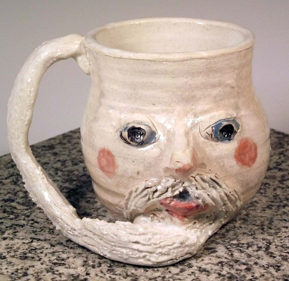 Silly Santa Mug with Mustache and Beard