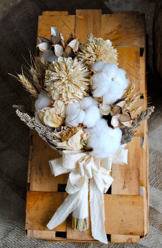 Букет невесты - Природные коробочками хлопка - Свадьба - Подружка невесты - сушеные Букет - Бутоньерки