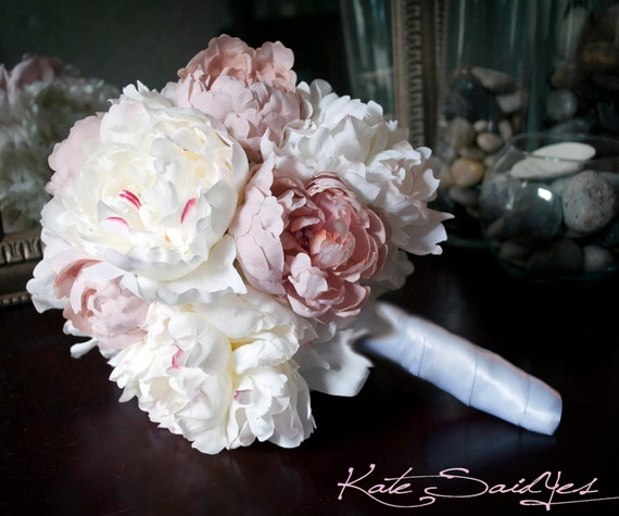 Peony Bouquet Ivory and Blush Pink Peony Silk Bridal Wedding Bouquet