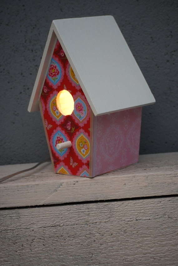 BirdHouseLamp - (Pink/Flowers/Birds)