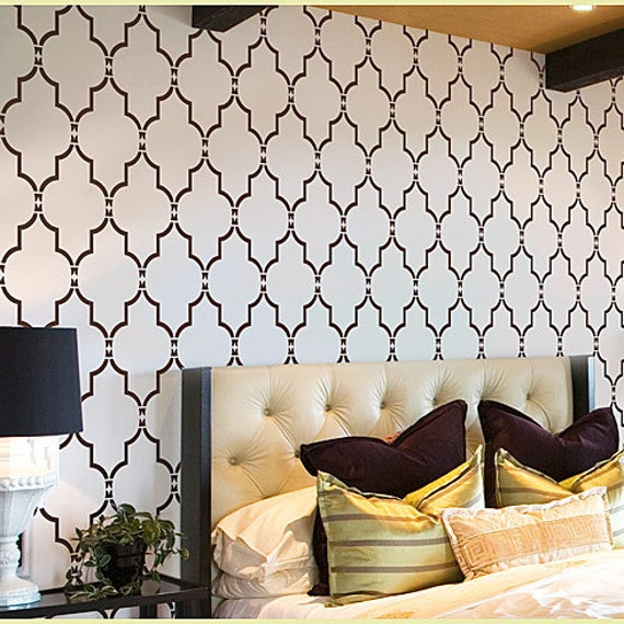 Stencil Marrakech Trellis, Beautiful stencils better than wallpaper, Short version, great for DIY wall decor