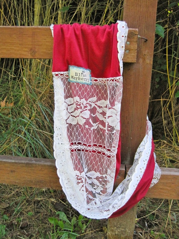 Heidi Beth Loopdy Scarf in fall red jersey, vintage lace panel, & vintage lace trim