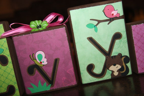 Custom Wooden Letter Block Set - Ivy - Pretty In the Park