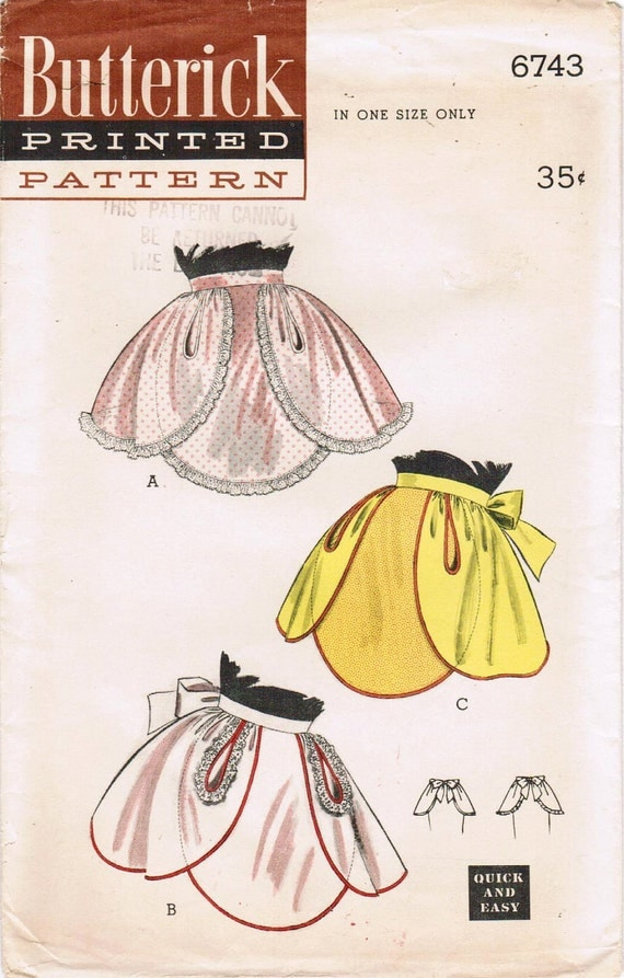 1950s Butterick 6743 UNCUT Vintage Sewing Pattern Misses' Hostess Aprons One Size