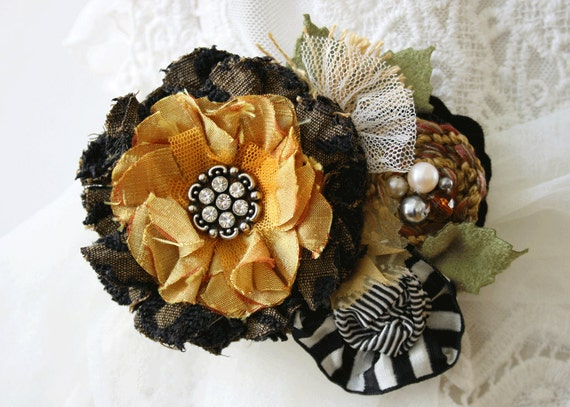 Fabric Flower Dress Pin Corsage Sash in Autumn Gold, Black and White Bouquet