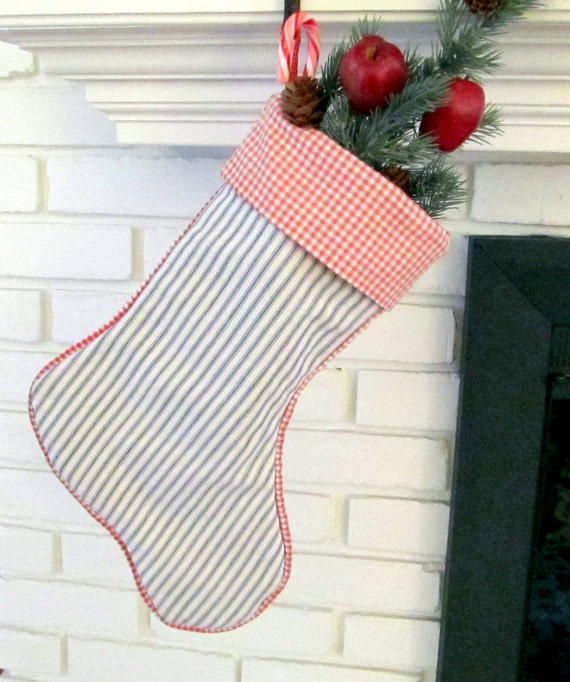 Vintage blue ticking and red check Christmas Stocking piped and lined 16 in. long
