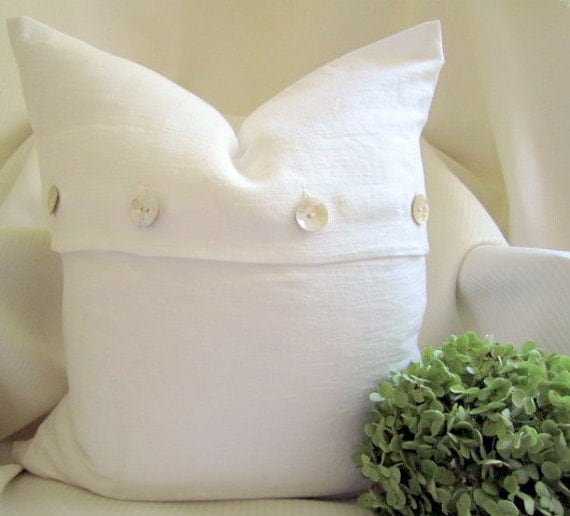 The Linen Collection, 20 x 20 Pillow Cover, 100% Pre-washed Linen, Mother of Pearl Vintage button closure, Cream