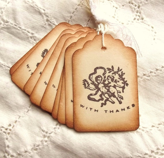 Victorian Cherub Thank You Tags - Vintage Inspired