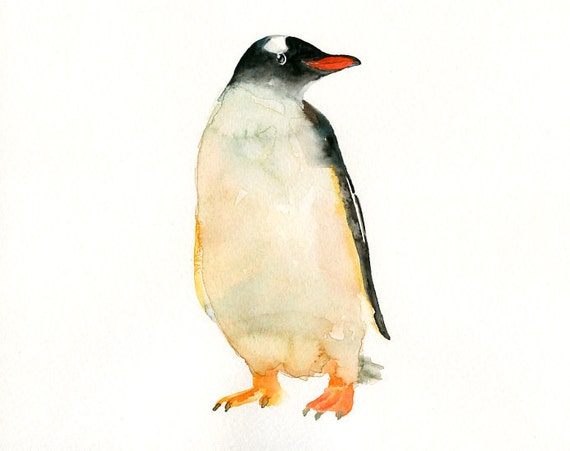 PENGUIN by DIMDI Original watercolor painting 10X8inchxxxxAll the animals that you wantxxxx