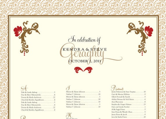 Wedding Reception Seating Chart pdf or full color printing