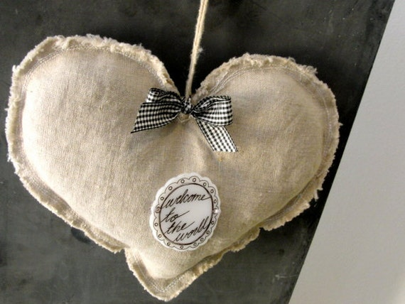 lavender sachet. heart. lavender door hanger. welcome to the world baby gift.