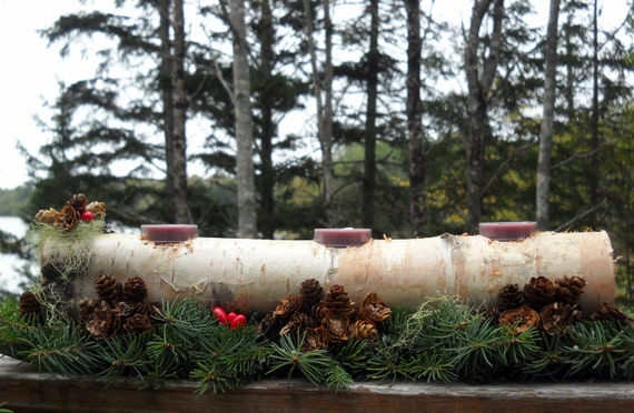 centerpiece log Holiday made of white Birch