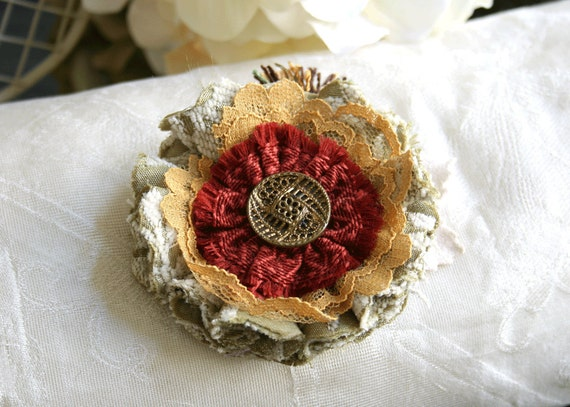Cranberry and Sage Thanksgiving Flower Pin Brooch with Vintage Victorian Button
