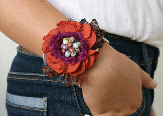 Fabric Floral Cuff Bracelet Wrist Corsage in Red, Purple, and Sage Green