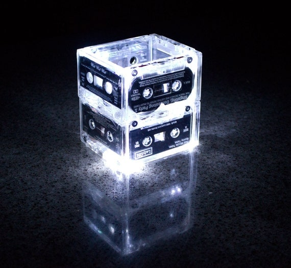 NIght Light Music cassette Tape Small - Upcycled Recycled Ecofriendly Wedding Table Setting