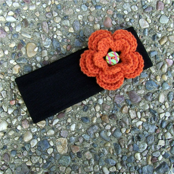 Winter Headband Ear Warmer Black with Orange Flower