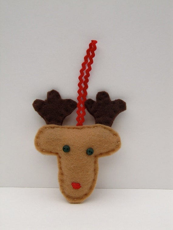Rudolph Ornament - Reindeer Felt Christmas Ornament