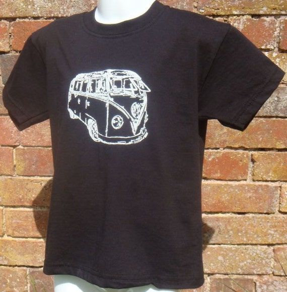 Childrens Black T-shirt, decorated with hand painted camper vans from ages 1 - 8 yrs