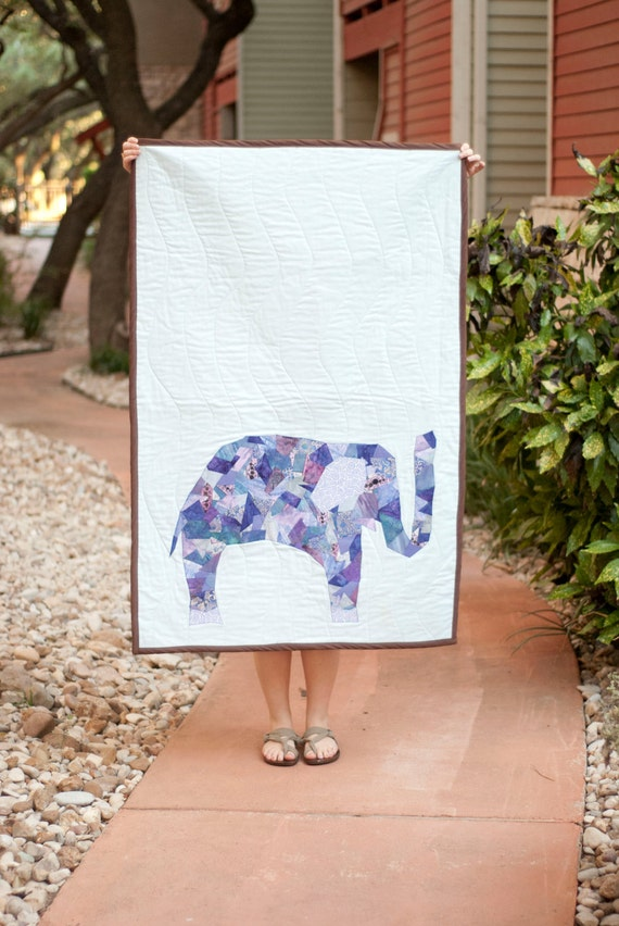 Sweet Elephant Baby Quilt / eco friendly custom hand crafted blanket