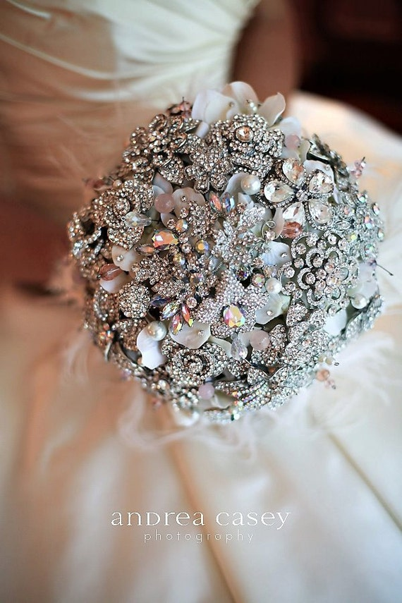 Deposit on a rich rhinestone and blush pink brooch bouquet--made to order