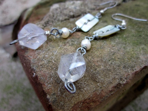 Cream Stone earrings, Faceted aquamarine gemstone Mother of pearl button - Faerie Glade